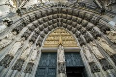 Portal norte na catedral da água de Colônia, Alemanha Fotografia de Stock