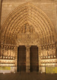 Portal of Notre-Dame cathedral in Paris Royalty Free Stock Image