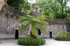 Portal opiekuny i treelike paproć w Quinta da Regaleira w Sintra obrazy royalty free