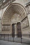 Portal principal en Notre Dame de Paris de la catedral, Fran Fotografía de archivo libre de regalías