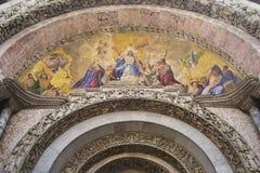 portal san venice för basilicaitaly marco Arkivfoton