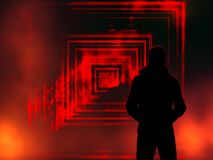 Portal to another world, portal to darkness with flames with a man in the coat. Portal to darkness, portal to another world, mystic passage, passage theme royalty free illustration