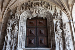 Portal to the Church of Jeronimos Monastery in Lisbon Stock Photography
