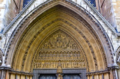 Portal tympanum Westminster Abbey, London, England. The portal tympanum of the church and cathedral of Westminster Abbey, London, Great Britain Royalty Free Stock Photos