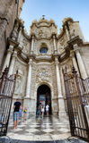 Portal of Valencia Cathedral, sunny day in Spain Royalty Free Stock Images