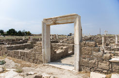 Portal in the wall, Laodicea on the Lycus, Turkey. Reconstructed portal in the stone wall, the archaic Laodikeia city at the Denizli Province, Laodicea on the Stock Photo