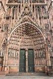 Portale ad ovest centrale della diga di Notre della cattedrale di Strasburgo Immagine Stock Libera da Diritti
