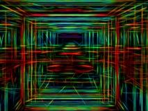Portale con i cavi d'ardore al neon - l'estratto digitalmente ha generato im illustrazione di stock
