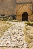 Portale gotico della chiesa di San Bartolome, Ucero, Soria, Spagna Fotografia Stock