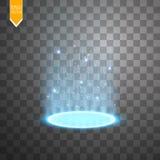 Portale magico della fantasia Futuristico teletrasporti Effetto della luce Raggi luminosi della scena e delle scintille di notte  illustrazione vettoriale