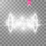 Portale magico di fantasia Futuristico teletrasporti Effetto della luce Candele bianche di raggi di una scena di notte con le sci illustrazione di stock
