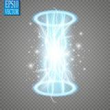 Portale magico di fantasia Futuristico teletrasporti Effetto della luce Candele blu di raggi di una scena di notte con le scintil illustrazione di stock