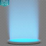 Portale magico di fantasia Futuristico teletrasporti Effetto della luce Candele blu di raggi di una scena di notte con le scintil illustrazione vettoriale