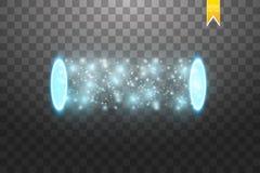 Portale magico di fantasia Futuristico teletrasporti Effetto della luce Candele blu di raggi di una scena di notte con le scintil Immagine Stock Libera da Diritti
