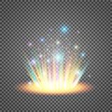 Portale magico di fantasia Futuristico teletrasporti Effetto della luce Candele blu di raggi di una scena di notte con le scintil royalty illustrazione gratis