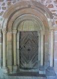 Portale romanico decorato, Kamnik, Slovenia Fotografie Stock