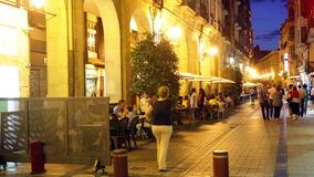 Portales street in evening. Logrono, Spain stock video