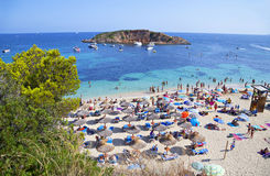 Portals Nous (Playa Oratorio) beach in Majorca. Majorca, Spain – August 03 2014: Well-known and popular Portals Nous (Playa Oratorio) beach in Majorca Stock Photos