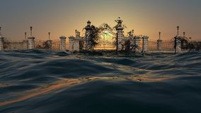 Portar till himmel - hav med soluppgånghimmel Stock Illustrationer
