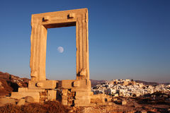 Portara gate in Naxos Greece. Stock Photo