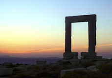 Portara gate in Naxos island Stock Photo