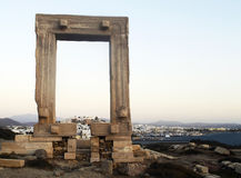 Portara gate in Naxos island Stock Photos