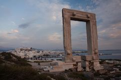 Portara monument at dusk stock image