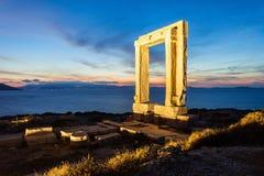 Portara Palatia, Naxos-Insel stockfoto