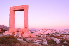 Portara, remnant of Apollo's temple, at sunset, in Naxos island, Royalty Free Stock Photos
