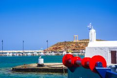 Portara - ruines de temple antique de Delian Apollo sur l'île de Naxos, Cyclades Images libres de droits