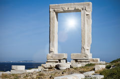 Portara with Sun Royalty Free Stock Image