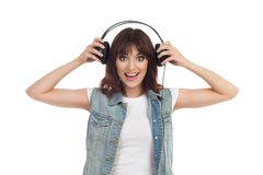 Portarait Of Smiling Young Woman With Headphones Stock Image