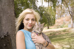 Portarit of woman or girl with cat Royalty Free Stock Image