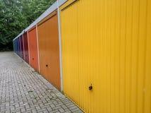 Portas coloridas da garagem Foto de Stock Royalty Free