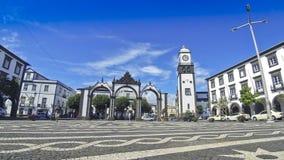 Portas da Cidade (Gates to the City), in Ponta Delgada city, Azores islands, Portugal stock video