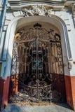Portas da mansão com estrutura decorativa forjada à antiga Fotografia de Stock