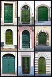 Portas da rua verdes - Toscânia Imagens de Stock Royalty Free