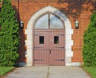 Portas de madeira da igreja Fotografia de Stock