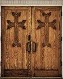 Portas de madeira da igreja Foto de Stock Royalty Free