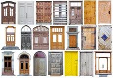 Portas de rua de madeira modernas no estilo retro do vintage Imagens de Stock
