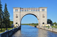 Portas de Sluice no rio Volga Imagens de Stock Royalty Free