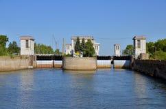 Portas de Sluice no rio Volga Imagem de Stock