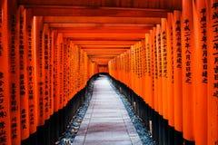 Portas de Torii em Fushimi Inari, Kyoto Fotos de Stock Royalty Free