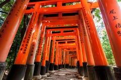 Portas de Torii no santuário de Fushimi Inari em Kyoto, Japão Fotografia de Stock Royalty Free