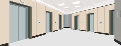 Portas do elevador no assoalho Interior do corredor longo Ilustração de um interior de um assoalho de uma casa de apartamento Imagem de Stock