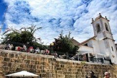 Portas faz o ponto de vista do solenoide em Lisboa fotografia de stock