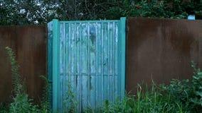 Portas ou wicket azul fechado, grama-coberto na cerca no campo Porta abandonada Cena rural Lugar desinibido vídeos de arquivo