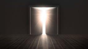 Portas que abrem para mostrar uma luz brilhante ilustração stock