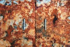 Portas velhas Fundo de Grunge do sumário da textura da oxidação do metal Fotografia de Stock