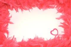 Portata dalle piume rosse con del cuore un isolante interiormente Fotografie Stock Libere da Diritti